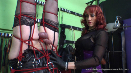 Femdom and Strapon Roped Suspension - part 1