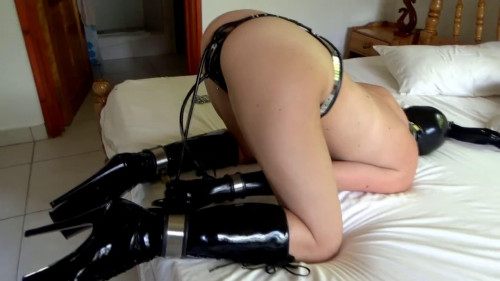 BDSM Latex Bondage, torture and balltie for beautiful model with small boobs