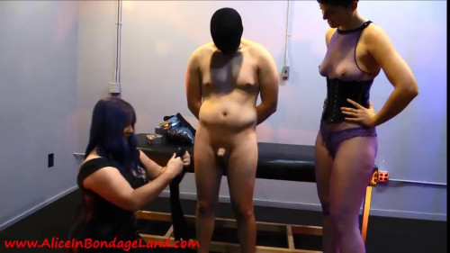 Femdom and Strapon Flashback Friday - Layered Pantyhose Tape Mummification Bondage Handjob Pt 1