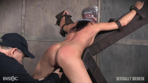 bdsm Hot Milf India Summers is strapped to X frame, hooded, gagged, and brutally fucked (2016)