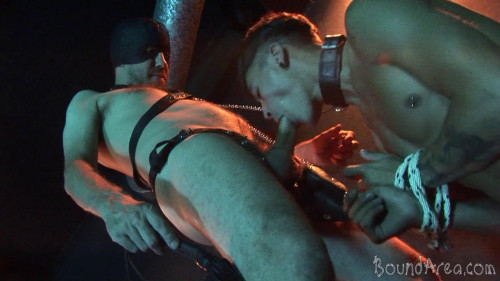 Gay BDSM BoundArea - Humiliating Puppy Play Ends with Creamy Gay Anal