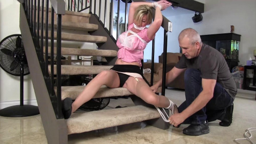 BDSM Busty blond wife comes home to find a man in her house