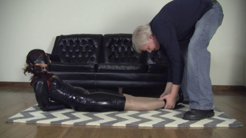 BDSM Latex Super bondage, domination and hogtie for young model