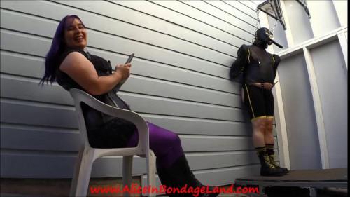 Femdom and Strapon Heavy Bondage Handjob - Leather Strait Jacket FemDom Humiliation