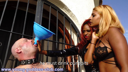 Femdom and Strapon The human spittoon