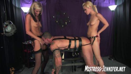 Femdom and Strapon Mistress Jennifer - Helly-slave Juliya - Domination HD