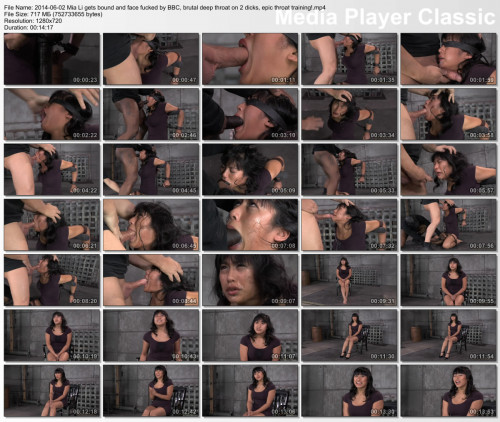 bdsm Mia Li gets bound and face fucked by BBC, brutal deep throat on 2 dicks , HD 720p