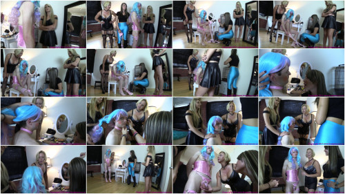 Femdom and Strapon Girl and Friend Turn Bro into Sissy with Help from Milf