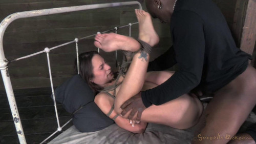 BDSM SexuallyBroken Tiny Amber deepthroats 10 inches of black cock