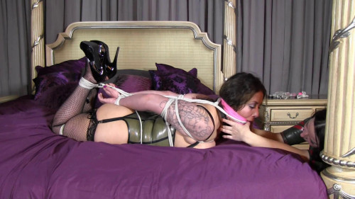 BDSM Latex Tight bondage, torment and hogtie for two girls in latex