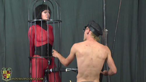 BDSM Latex House of Gord - Suspended Bird Cage Fuck Machine