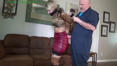 BDSM Latex Tightly taped and hogtied