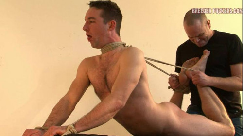 Gay BDSM Shamus - Arms and legs bound, clothes cut off his body, breath control