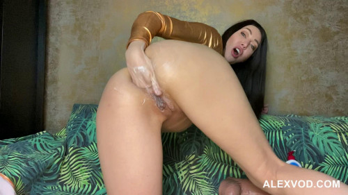 Fisting and Dildo Gold suit Hotkinkyjo with fat dong balls deep anal, gape, fist prolapse