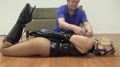 BDSM Latex Tight bondage, hogtie and domination for horny slavegirl Full HD1080