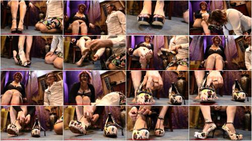 Femdom and Strapon Spit Shine Shoe Worship Fetish FemDom - Domina Jenna Rotten