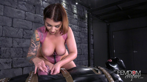 Femdom and Strapon Milking The Gimp