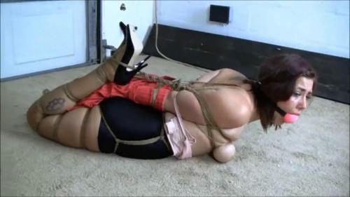 BDSM Tight bondage, strappado and hogtie for sexy brunette part 1