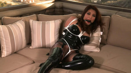BDSM Latex Tight bondage, domination and balltie for hot model in latex