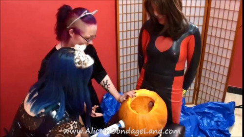Femdom and Strapon Pumpkin Fucker Halloween Humiliation - Chastity Training FemDom Threesome