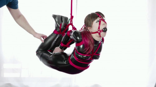BDSM Latex Super bondage, strappado and hogtie for horny model in latex Full HD 1080p