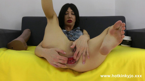 Fisting and Dildo Extreme huge dildo from mr.Hankey up in Hotkinkyjo anal hole prolapse