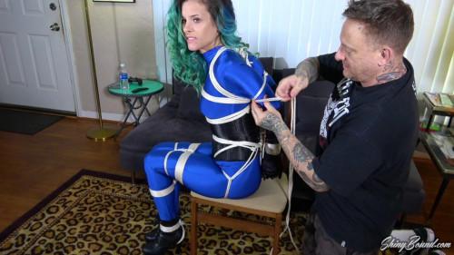 BDSM Bound In Blue Spandex