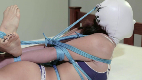 bdsm Blue Lingerie Hooded Hogtie