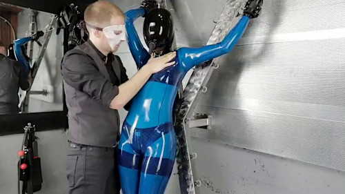 BDSM Latex Tight bondage, spanking and domination for horny girl in latex Full HD