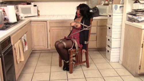 BDSM Tied in Schoolgirl Dress and Ballgagged to Keep Quiet Cupcake Sinclair roped