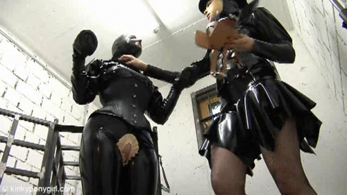 BDSM Latex HD Bdsm Sex Videos Caged Ponygirl and a Dildo Pole