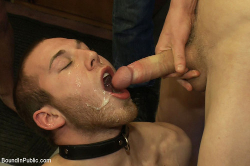 Gay BDSM 19 year old stud with a giant cock gets used and humiliated in public
