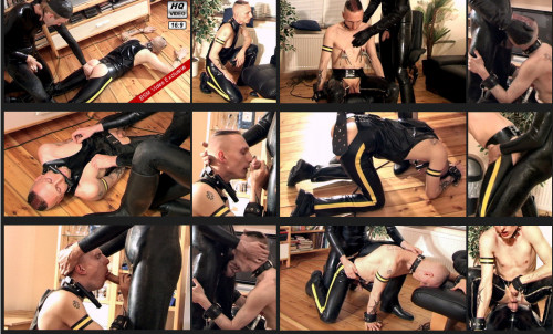 Gay BDSM Heavy Fuck and strongest Paddling for a Rubber-Punk