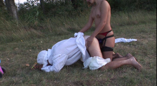 Femdom and Strapon Guy is taking big strap-on by nasty chick