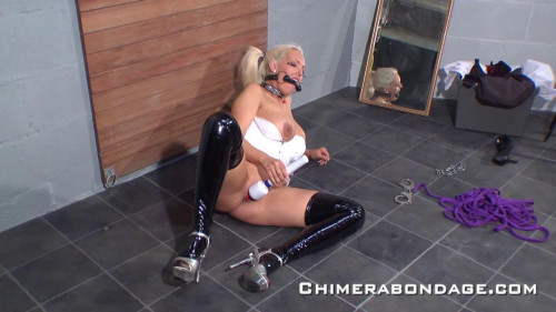bdsm Blonde self roped