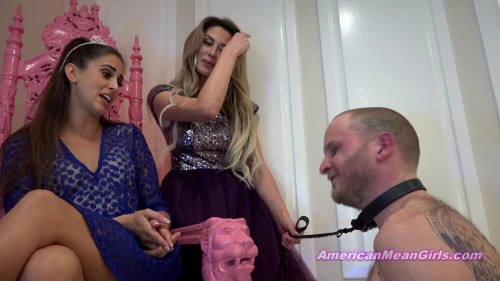 Femdom and Strapon Princess Beverly and Superior Goddess Brooke - Improv Slapping For A Tardy Slave