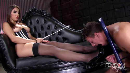 Femdom and Strapon Stocking Lovers Predicament