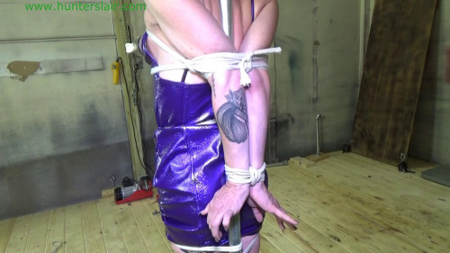 BDSM Latex Rope loving masochist tied to a pole for strict bound orgasms