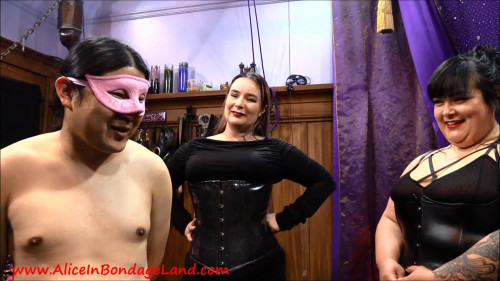 Femdom and Strapon Sissy Joy Clothing Exchange Fashion Show Foursome - Mistress Vyra and Mistress Sofia