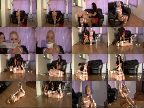 BDSM Her first pantyhose encasement