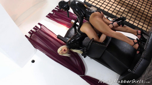 Femdom and Strapon Kinky Rubber Petplay, Rubber Cat Finger, Srtap-on Fuck Part 2