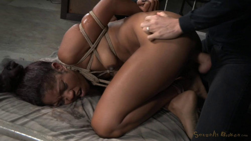 BDSM SB - Bound Girl roughly fucked and used hard, epic drooling deepthroat