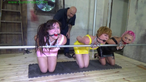 BDSM Latex His three German guests are tied to the rail for ass paddling