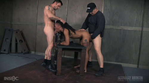 bdsm Nikki Darling gets plowed from both ends with huge cock. Helpless and cumming, rough face fucking
