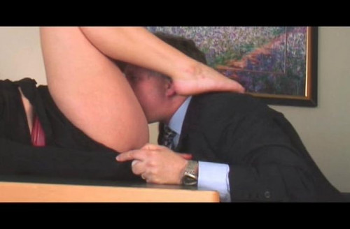 Femdom and Strapon Under the Table