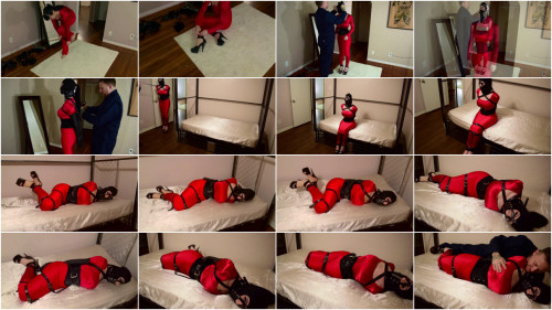 BDSM Bound and Hobbled in Red-rope bondage videos