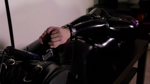 bdsm Black Catsuit + Hood and Belts