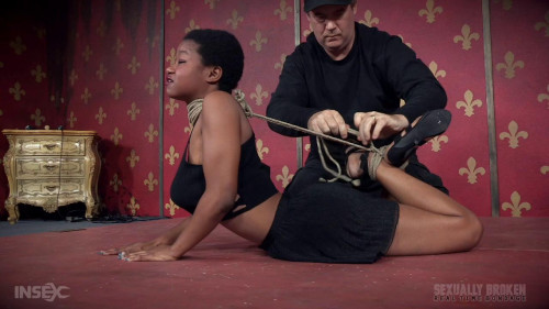 bdsm Kahlista face fucked by couple in strenuous bondage