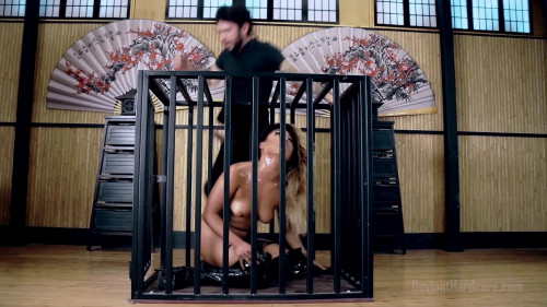 bdsm Caged asian cock slut Lana Violet fucked hard