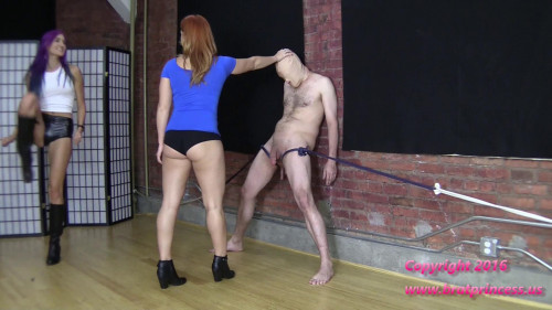 Femdom and Strapon Black Leather Boot Ballbust